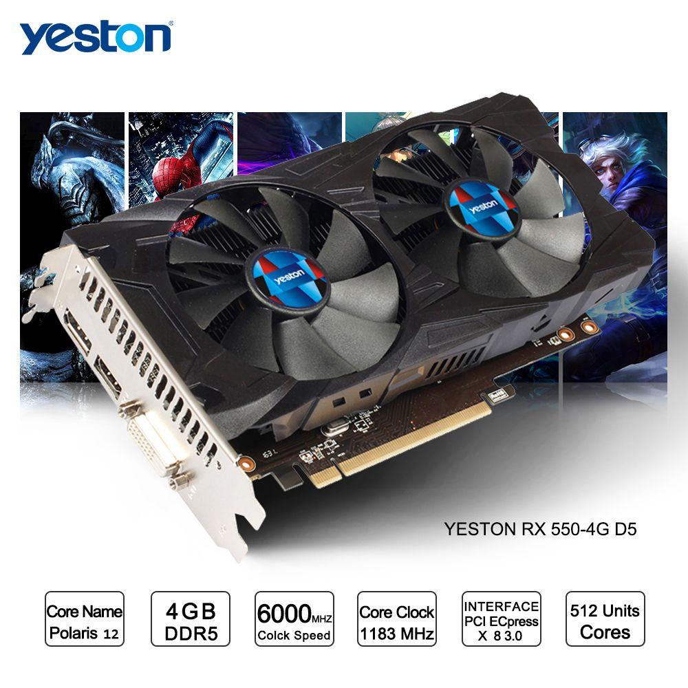 Yeston Radeon RX 550 GPU 4 gb GDDR5 128bit Gaming Desktop computer PC Video Graphics Karten unterstützung DVI/HDMI