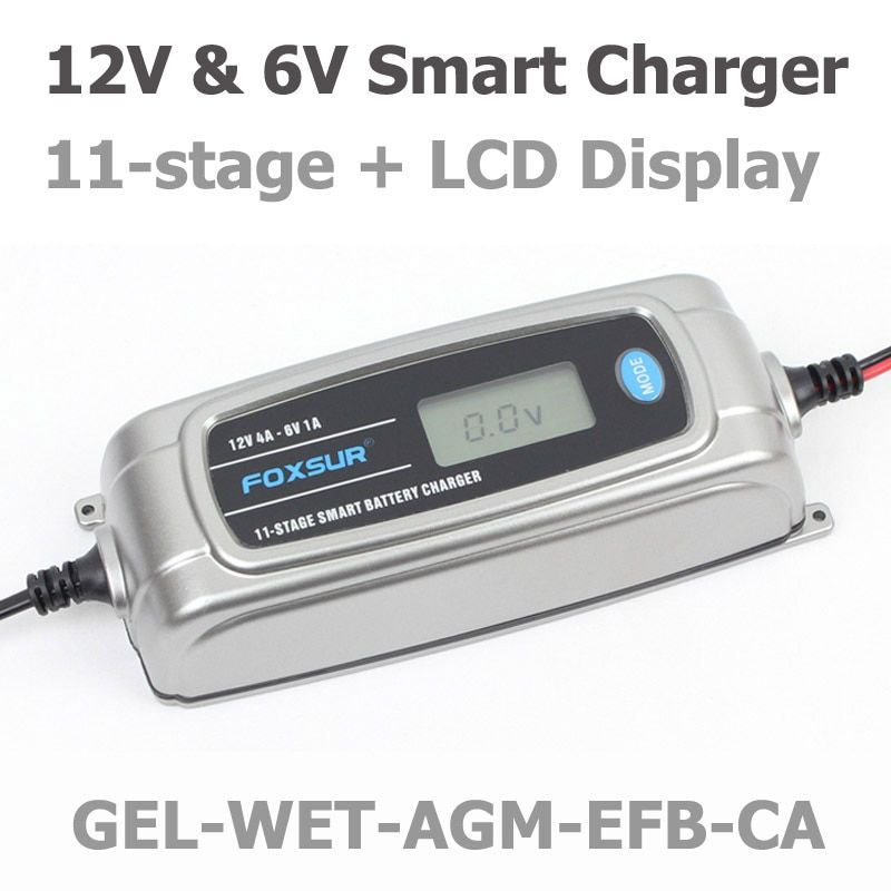 FOXSUR 12V 4A 6V 1A 11-stage Smart Battery Charger, Toy & Car AGM GEL WET EFB Battery Charger, LCD Intelligent Battery Charger