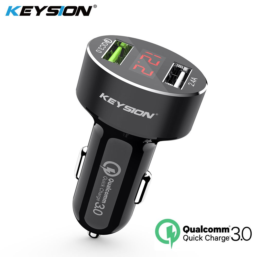 KEYSION Dual USB Quick Charger QC 3.0 Car Charger For iPhone XS Max XR X 8 7 Samsung S9 Note9 LED Display Digital Smart Chargers