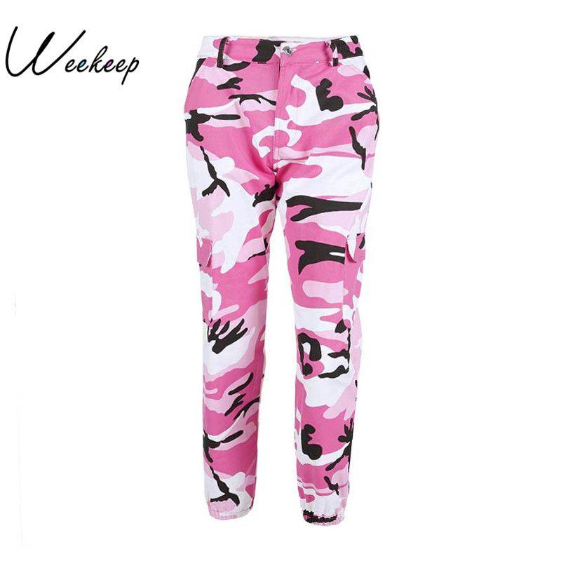 Weekeep Women 2017 High Waist Demin Camouflage Pants Fashion Jean Trousers <font><b>Pantalon</b></font> Mujer Pencil Military Camo Pencil Pants