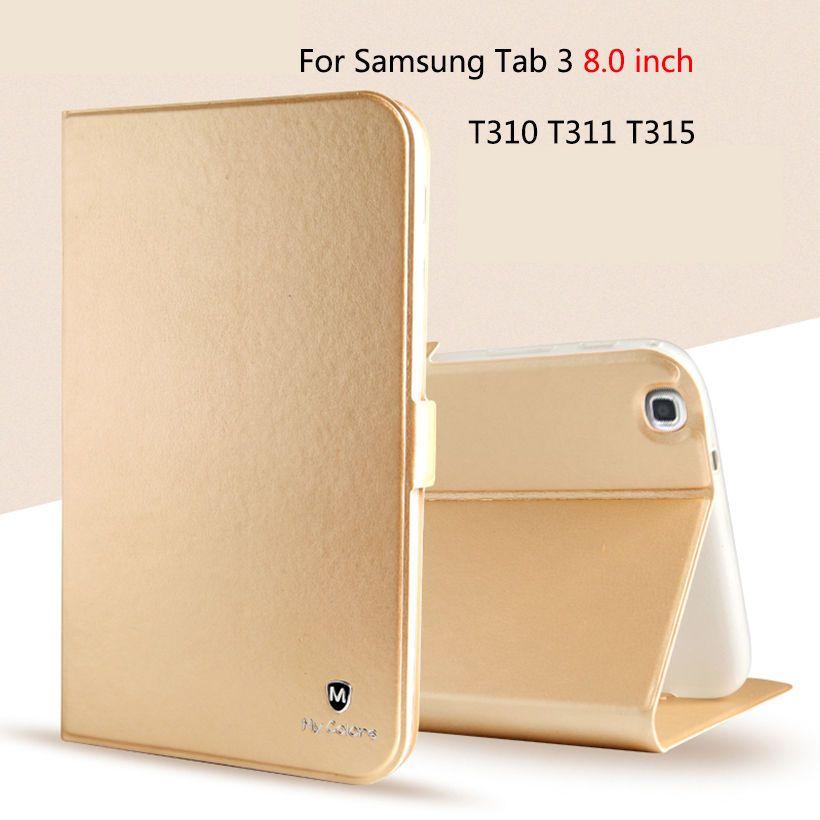 De luxe En Cuir PU Silicone étui pour samsung Galaxy Tab 3 8.0 SM-T310 T311 T315 Housse Funda Mode Tablette Étui Coque