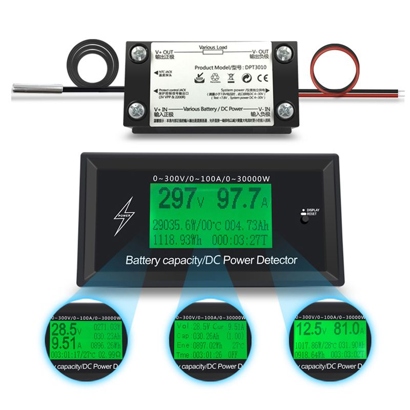 300V 100A DC digital voltmeter ammeter voltage meter car battery capacity volt current wattmeter detector power <font><b>supply</b></font> tester
