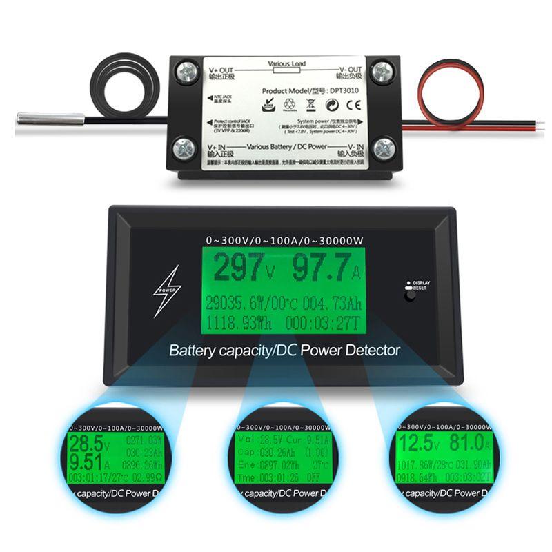 300V 100A DC digital voltmeter ammeter voltage meter car battery <font><b>capacity</b></font> volt current wattmeter detector power supply tester