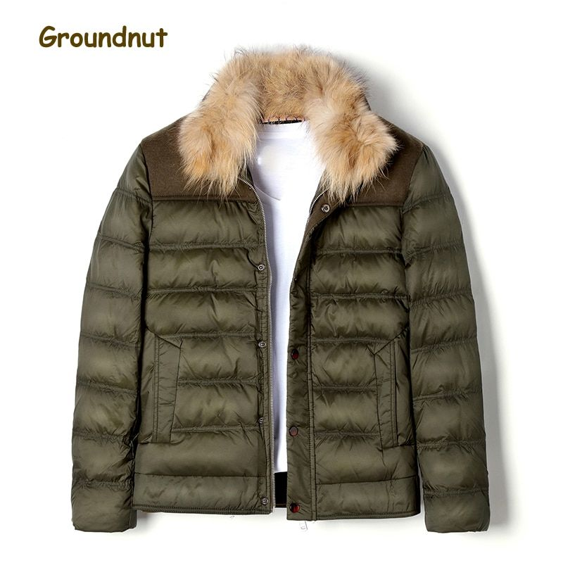 Groundnut Brand Natural Raccoon Fur Collar Men's Duck Down Coat Outerwear Men Block Color Thickening Warm Winter Down Jackets