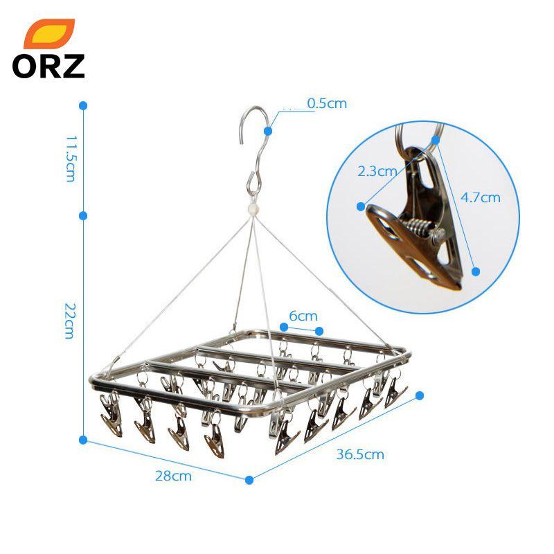 ORZ 26 Clips Stainless Steel Aluminum Clothes Drying Rack Hanger Sock Short Underwear Drying Hanger Multifunctional drying shelf