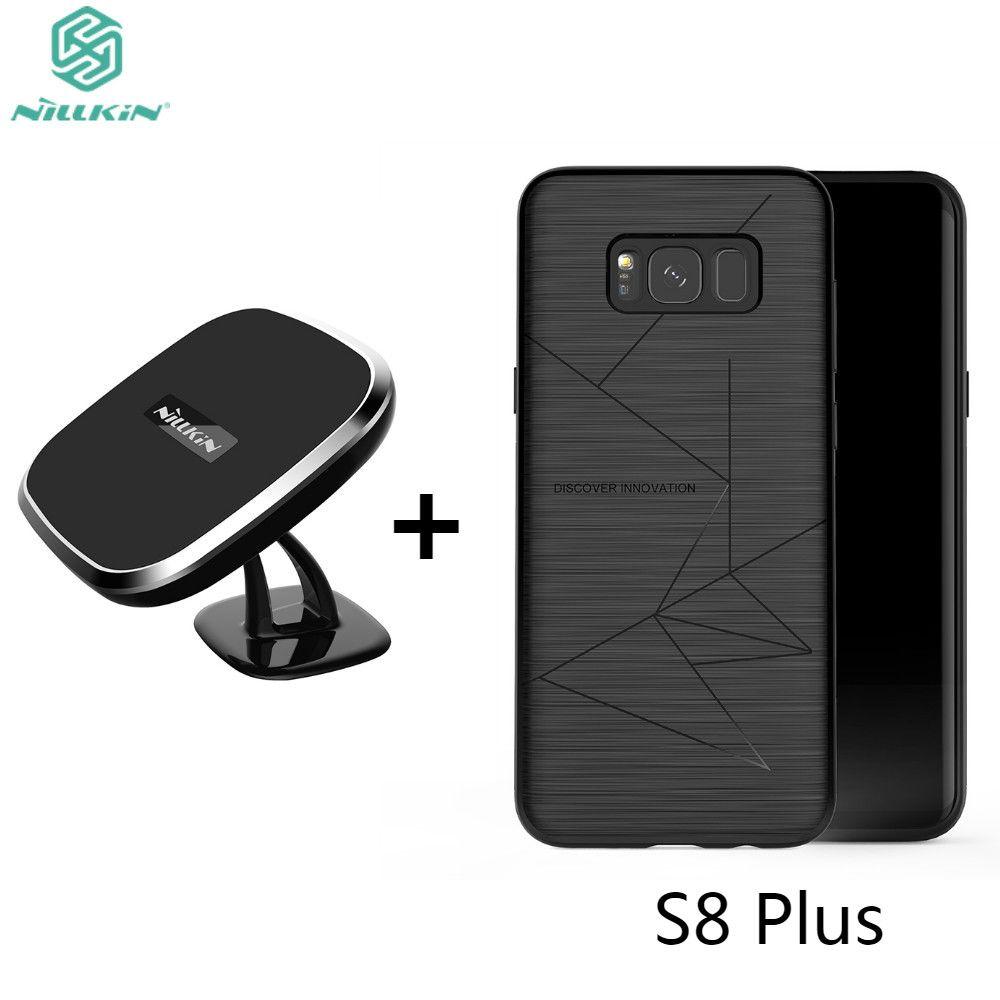 NILLKIN De Voiture Magnétique Chargeur Sans Fil Qi de Recharge Pad & Support Magnétique Chargeur Récepteur de Couverture Arrière Pour Samsung Galaxy S8 Plus