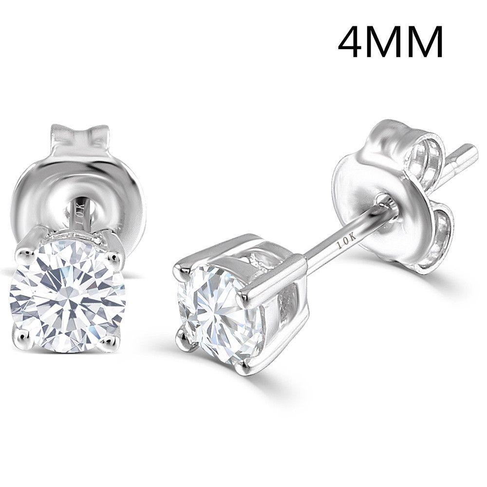 Transgems Platinum Plated Silver 0.5CTW 4MM HI Color Moissanite Stud Earrings for Women Push Back Classic Moissanite Earrings