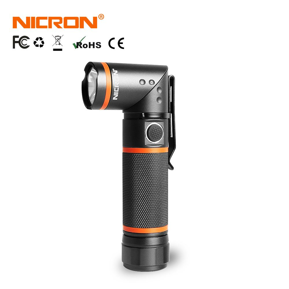 NICRON LED Flashlight Ultra Bright High Brightness Waterproof 3 Modes 300LM CREE LED Handfree Torch Magnet 90 Degrees B70 / N72