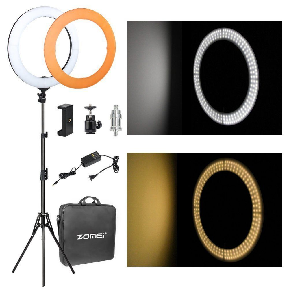 Zomei 18 inch Dimmable SMD LED Studio Camera Video Ring Light Lighting Kit 5500K for Make up Smartphone YouTube live Broadcast