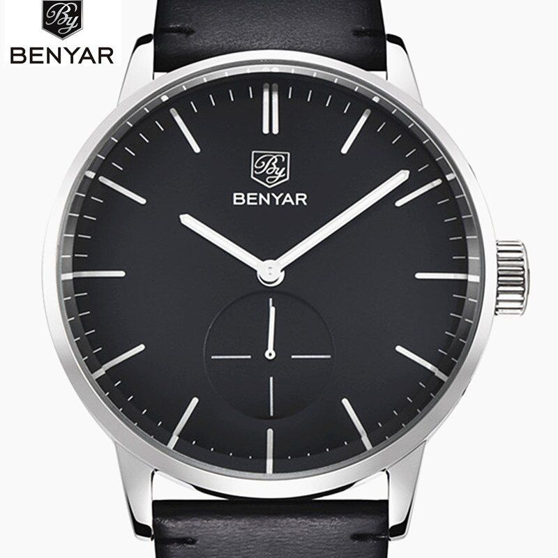 2017 Top Luxury Brand Benyar Men Sports Watches Men's Quartz Clock Man Leather Army Military Wrist Watch Relogio Masculino