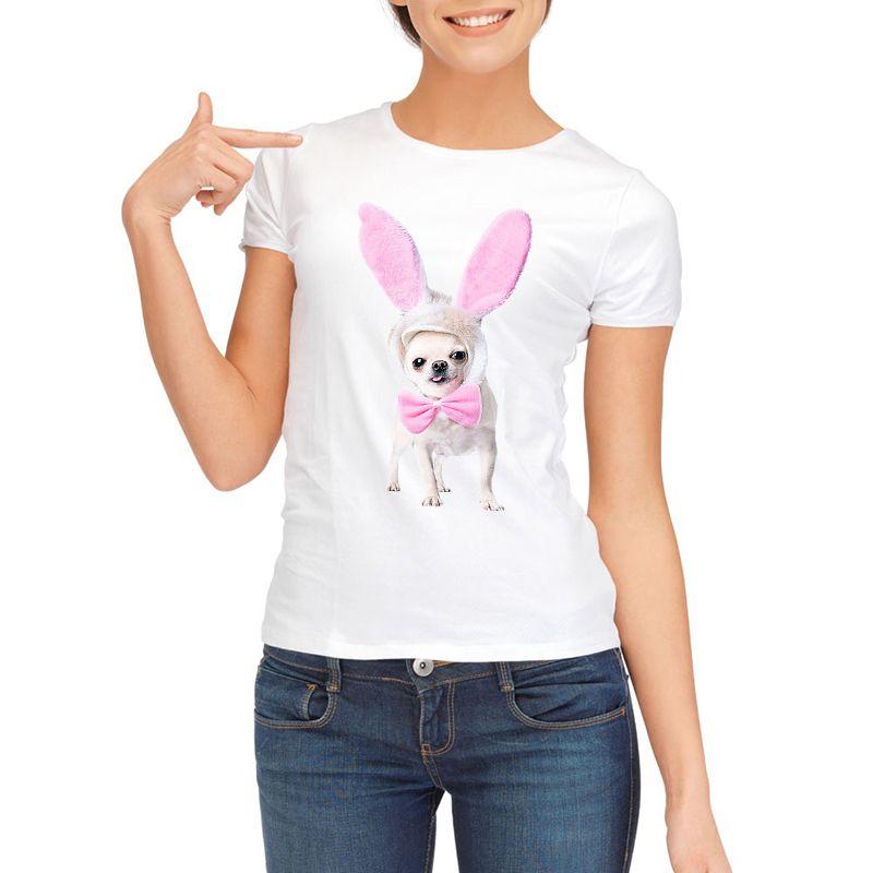 Été Tops 2018 Roquet Drôle Imprimer Femmes T-Shirt Femelle Blanc Camisetas Tops Lâche T-shirt Chihuahua chien T-shirt Femme t-shirt