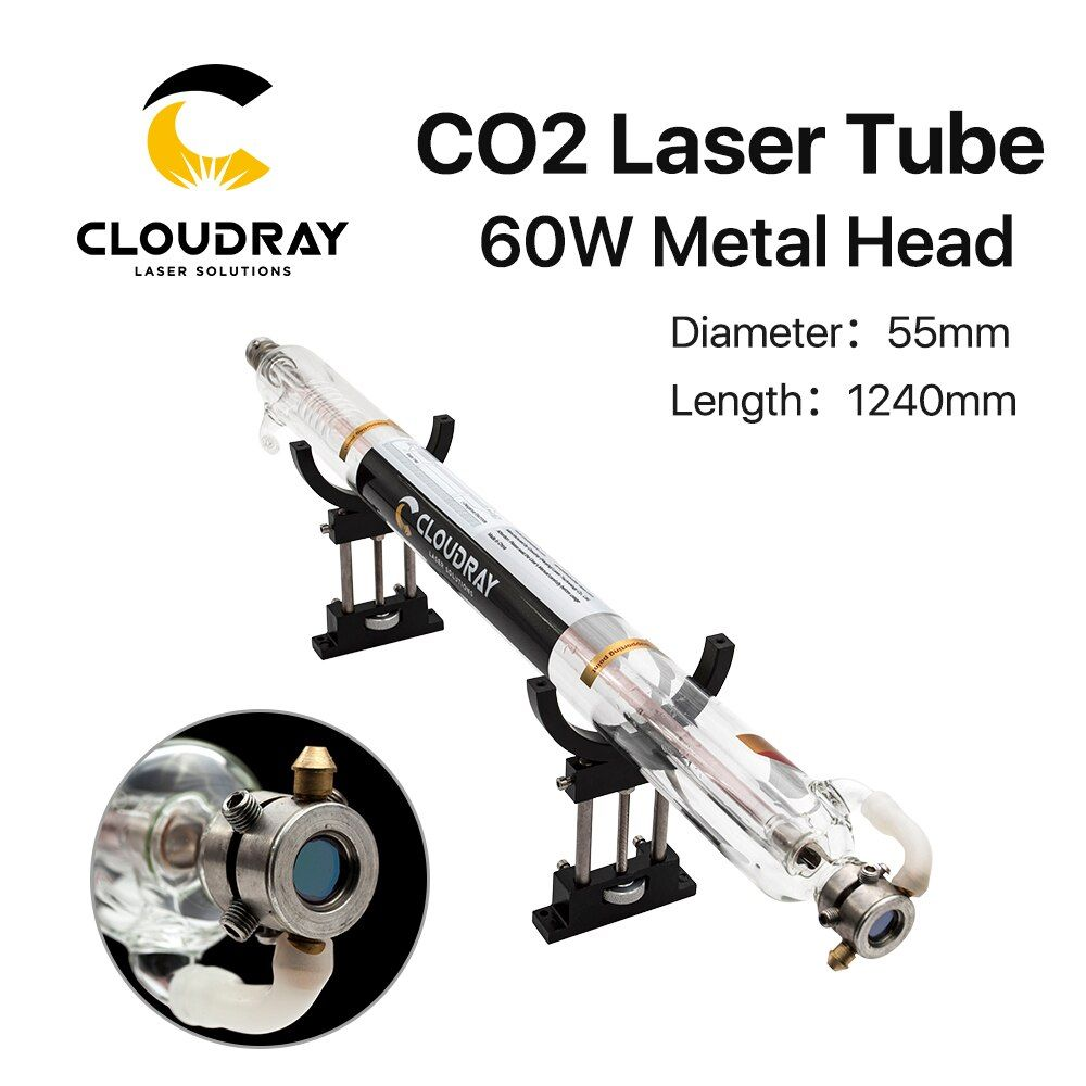 Cloudray 60W Co2 Laser Tube Length 1240mm Diameter 55mm Metal Head Glass Pipe for CO2 Laser Engraving Cutting Machine