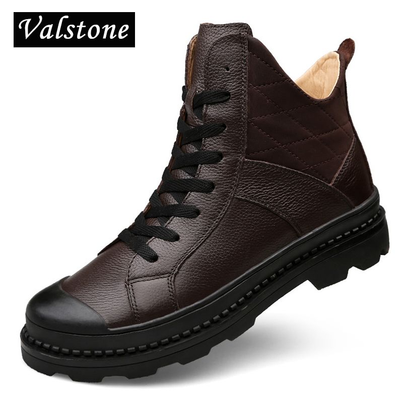 Valstone Superior Men's High Top Genuine Leather boots Winter warm snow boots Inner height increasing velvet shoes Plus sizes 45