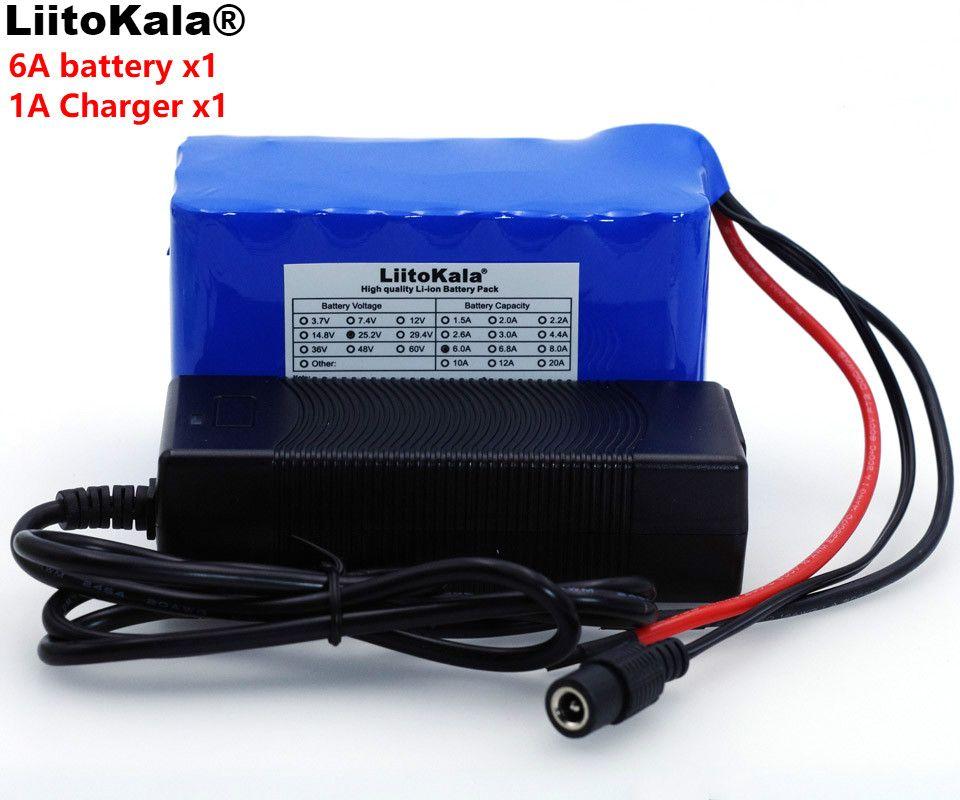 LiitoKala 24 V 6Ah 6S3P 18650 Batterie Lithium-Batterie 25,2 v Elektrische Fahrrad Moped/Elektrische/Li-ionen-akku Pack + 1A Ladegerät