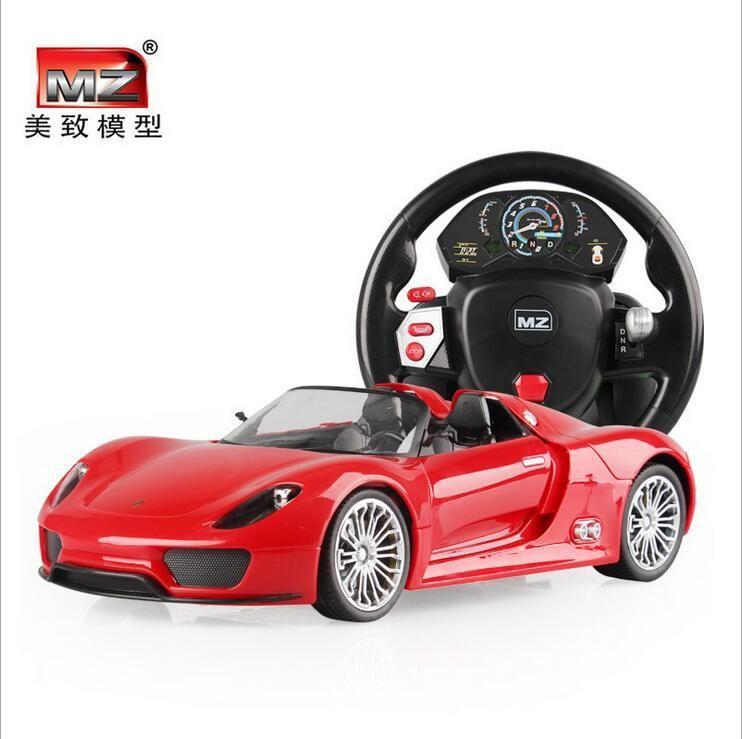 145145 Remote control alloy car steering wheel a key gravity sensor control Porsc control car children a 14, 918 cars travel58cm