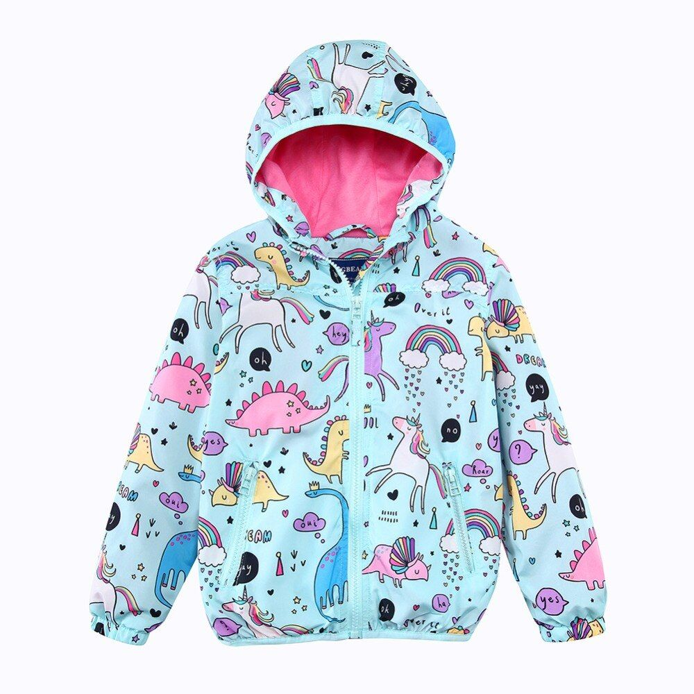 Girls Hooded Jackets Spring Windbreaker Baby Girls Clothes 2018 Brand Animal Kids Unicorn Coats Outerwear Children Clothing