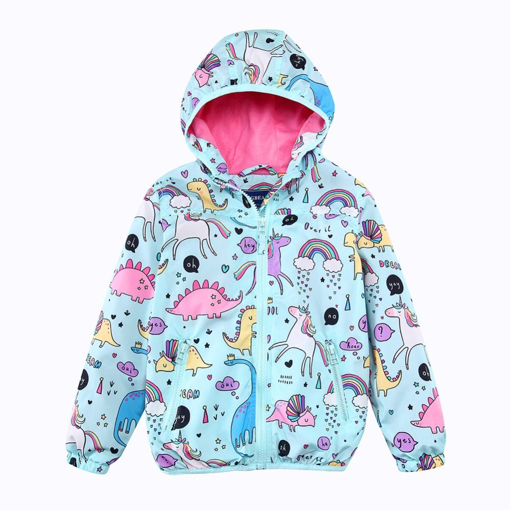 Girls Hooded Jackets Spring Windbreaker Baby Girls Clothes 2018 Brand Animal Kids Unicorn Coats Outerwear <font><b>Children</b></font> Clothing