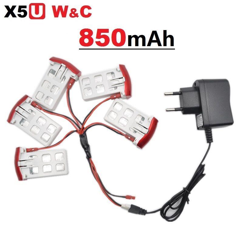 SYMA X5UW X5UC 850 mAh 3,7 V LiPo Batterie + 220 ~ 240 V Euro oder Us-stecker AC Ladegerät RC Drone Quadcopter Ersatzakku teile