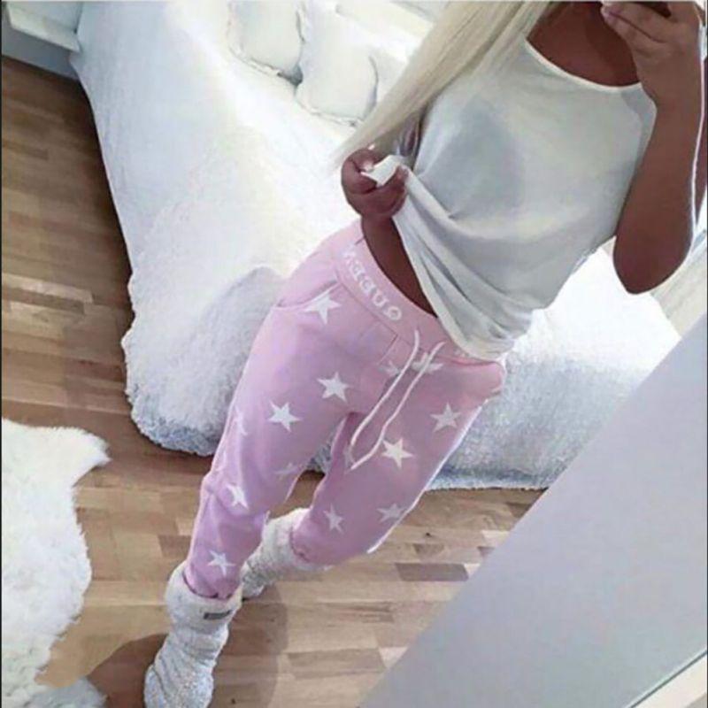 Haute note Feedback rose/gris pantalons lâches femmes imprimé étoile décontracté pantalons longs mode pantalons de survêtement