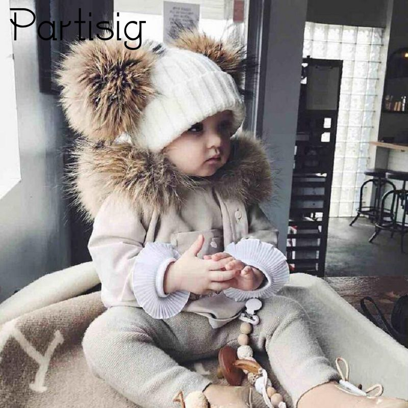 Baby Hat Crochet Double Natural Raccoon Pompom Hat For Girls Winter Baby Girls Caps Real Fur High Quality Fashion Kids Caps