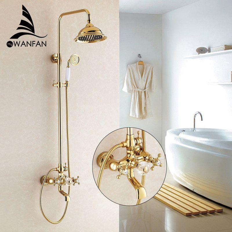 Duscharmaturen Luxus Gold Bad Regendusche Wasserhahn Set Mischbatterie Mit Handsprüher Wand Bad Duschkopf HJ-859k
