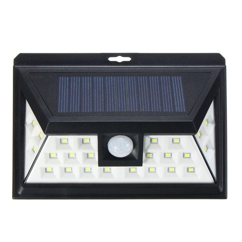 24 LED luz solar al aire libre LED jardín luz blanca PIR sensor de movimiento solar seguridad pathway lámpara de pared impermeable