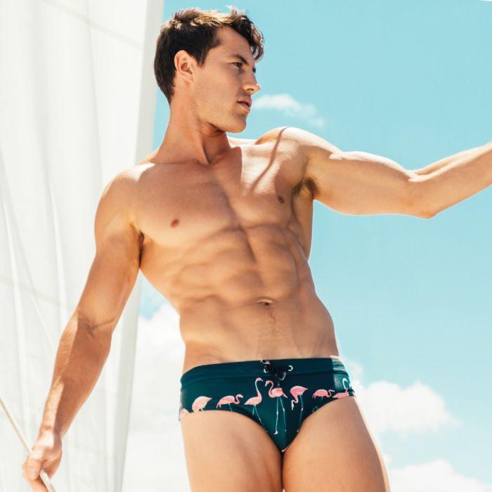 Men Brief Swimwear Mens Flamingo Swimming Briefs Bikini Low Waist Penis Pouch Swim Suit man Gay Hot Sexy Swimsuit Surfing