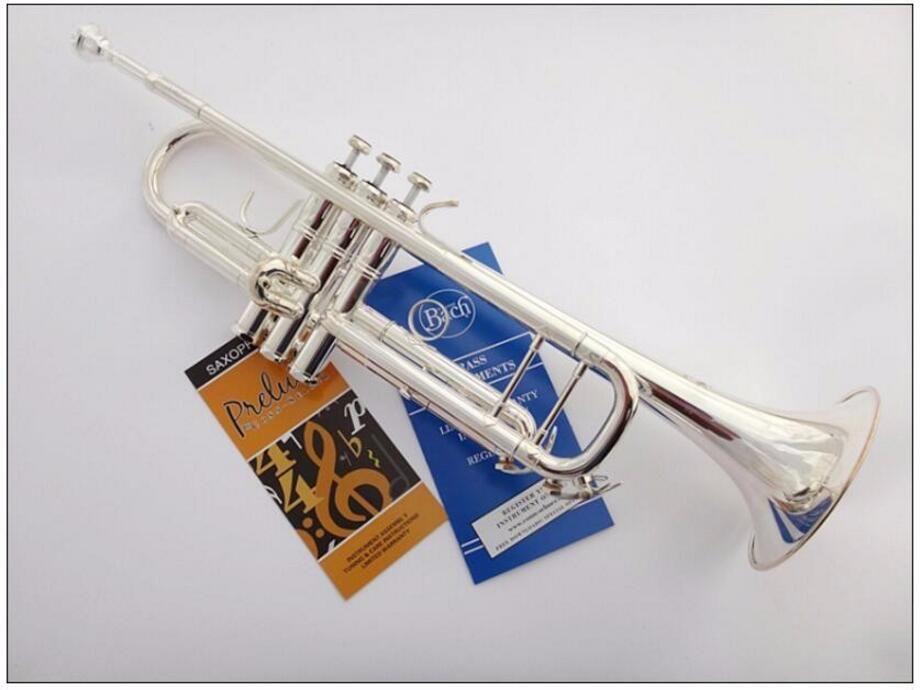 Professionelle Bach LT-180S-43 Trompete Silber Platte Rohr Körper Geschnitzte Bb Trompete Drop Einstellbare Trompeta Instrument