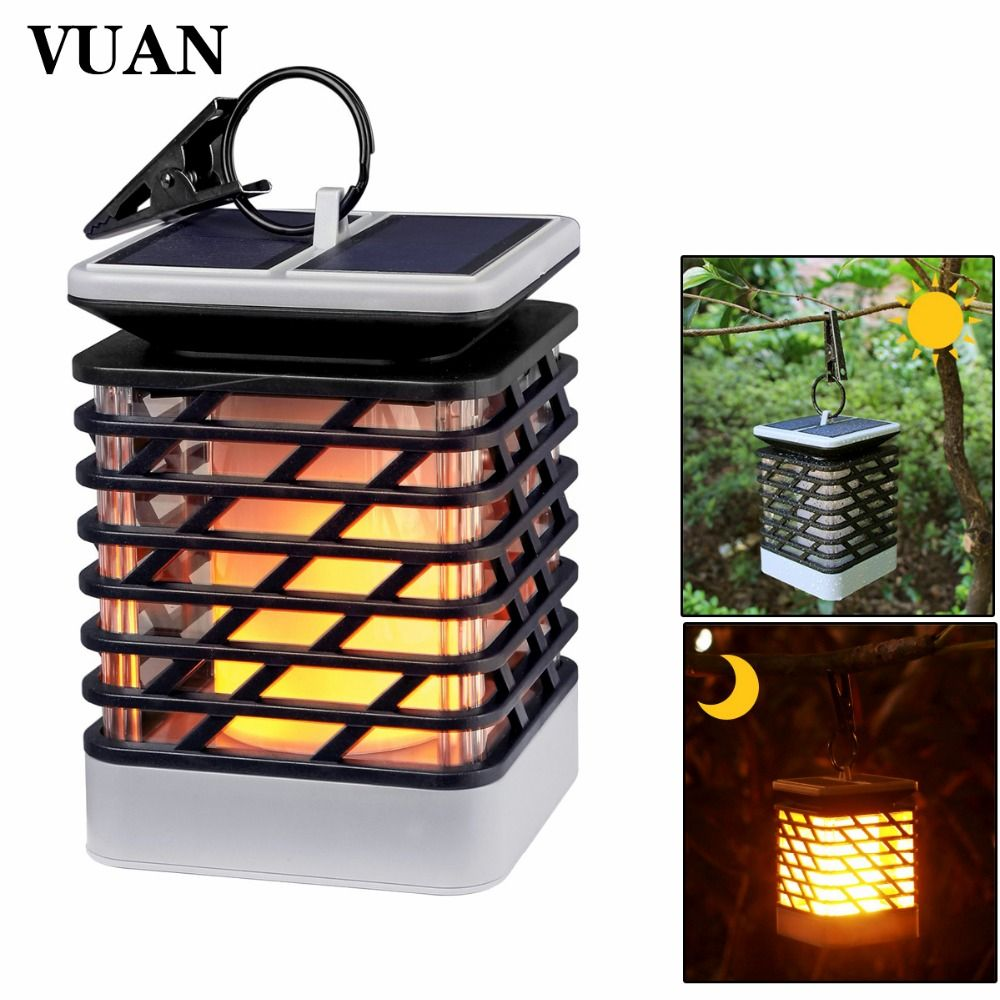 LED Solar Powered Torch Lights Flickering Flame Waterproof Hanging Decorative Lighting for Pathway Garden Deck Christmas Party