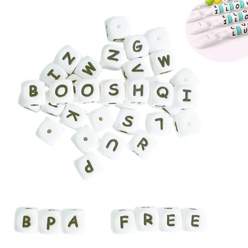 200-1000pcs Silicone Alphabet Letter Beads for DIY Name on Pacifier Chain Clips 12MM Chewing Beads for Baby Necklace Bracelets