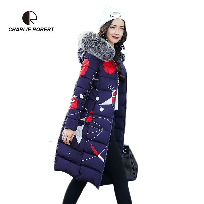 CR New Women Down Casual Winter Coats Fur Collar Plus Size 2 face Dressing Hooded Parka Coat Long Style Womens Jackets