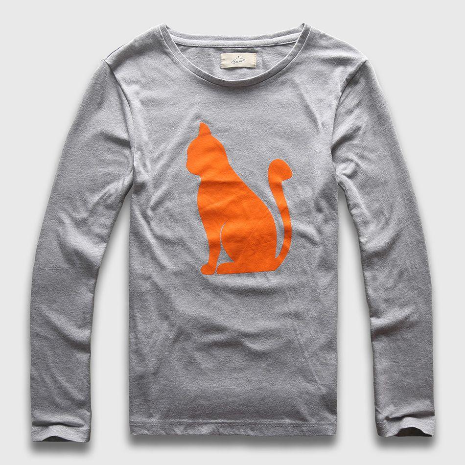 Zecmos cadeau de noël chat T-Shirt homme à manches longues couverture en coton créatif hommes décontracté graphique drôle t-shirts