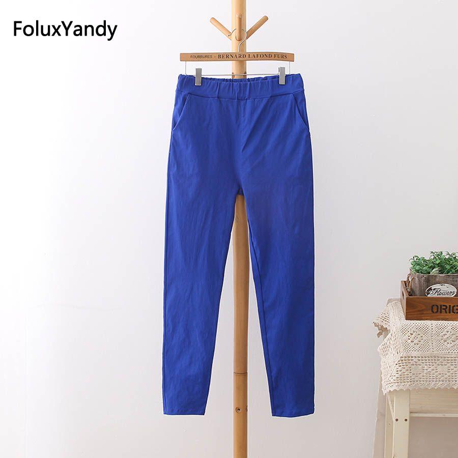6 couleurs Taille Haute Pantalon Femmes Plus Taille 3 4 5 XL Casual Slim Élastique Crayon Pantalon Pantalon Noir Blanc vert Bleu Rouge HS11