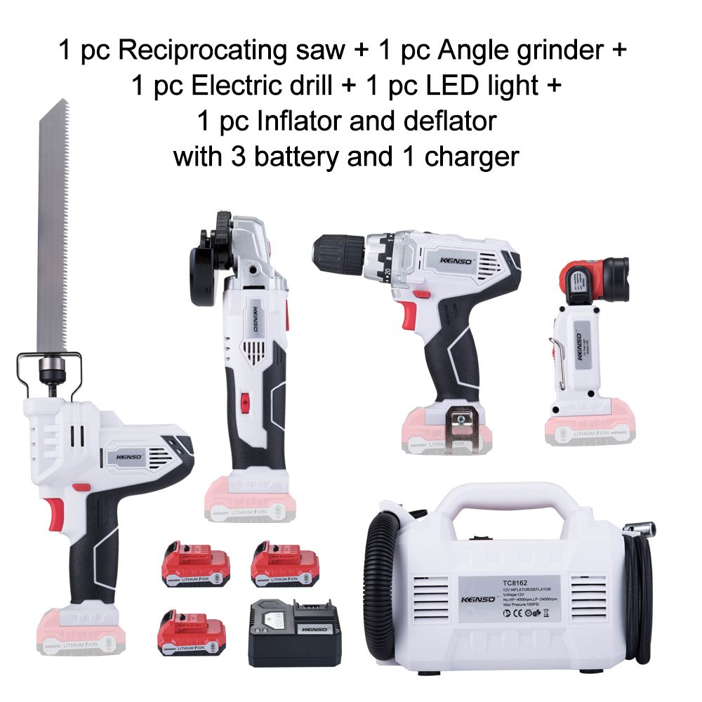 Keinso 12V Angle grinder Electric drill LED light Inflator and deflator Electric Saw with three lithium battery and one charger