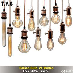Retro Lâmpada Incandescente e27 ST64 Edison Lâmpada G80 G95 Vintage lâmpada 220 v Luzes Do Feriado 40 w Filamento Da Lâmpada Lampada Para Casa decoração