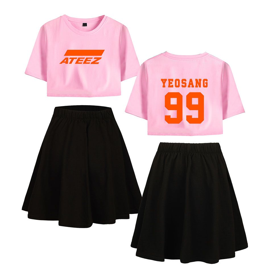 Frdun Tommy ATEEZ women' sets Navel Summer Short Sleeve and Shorts/skirts 2019 New Casual Sexy Harajuku Soft Summer Sets XS-2XL