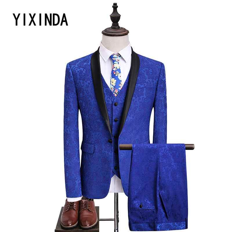 YIXINDA Brand New men's suit for 2018. Fashion trend casual three-piece dinner dress. Wedding dress size s-5xl