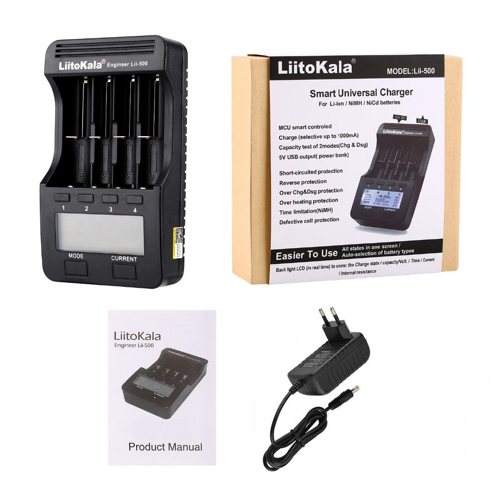 LiitoKala lii-500 lii-500S LCD 3.7V 1.2V 18650 26650 16340 14500 10440 18500 20700B 21700 Battery Charger with screen