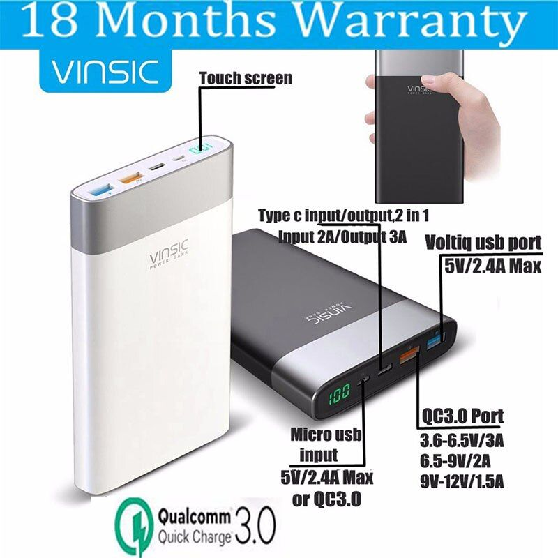 Vinsic 20000mah Power Bank QC 3.0 Quick Charge Powerbank Type C for Macbook Xiaomi Mi6 Nexus 5X 6P Samsung S9 Battery Charger