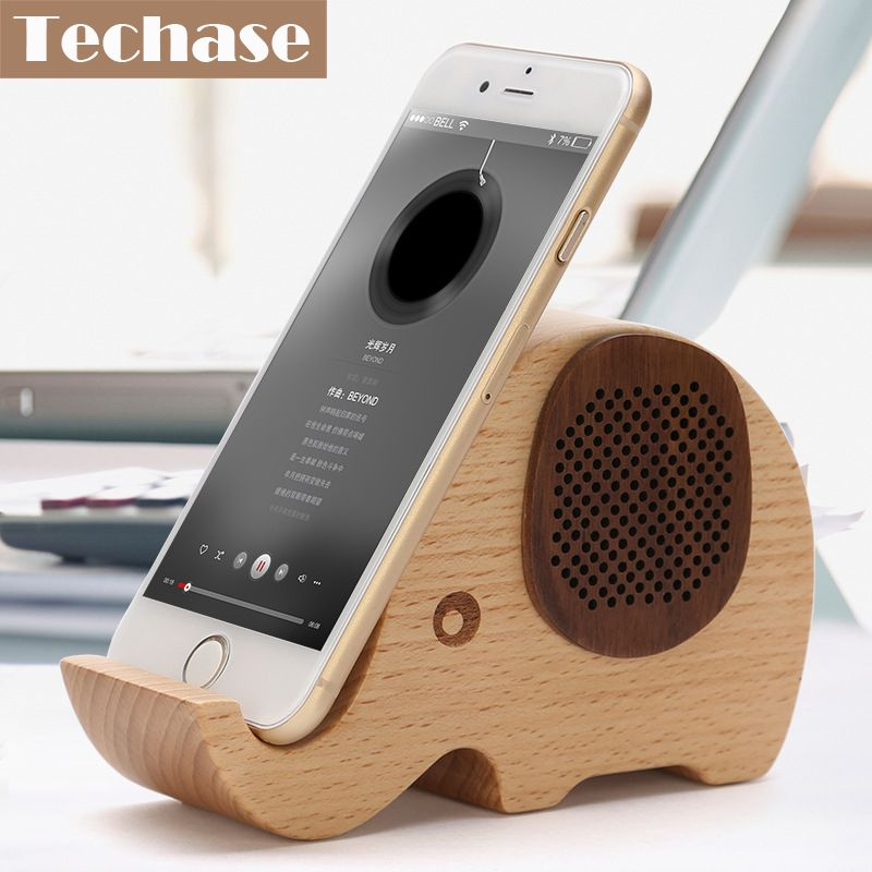Techase Wooden Mobile Phone Holder With Bluetooth Speaker Animal Design Phone Stand Telefon Tutucu For iPhone 6 6s For iPhone 7