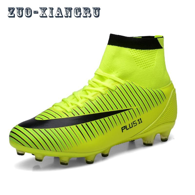 Haute Cheville Hommes Chaussures de Football TF/FG/AG Longues Pointes Formation Football Bottes Dur-le port De Football Chaussures haute Top Football Crampons