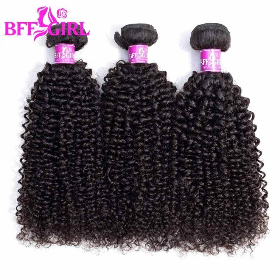 BFF GIRL Brazilian Kinky Curly Hair Bundles 100% Human Hair 1/3/4 Bundles Natural Color Jerry Curl Remy Hair Weaves Extensions