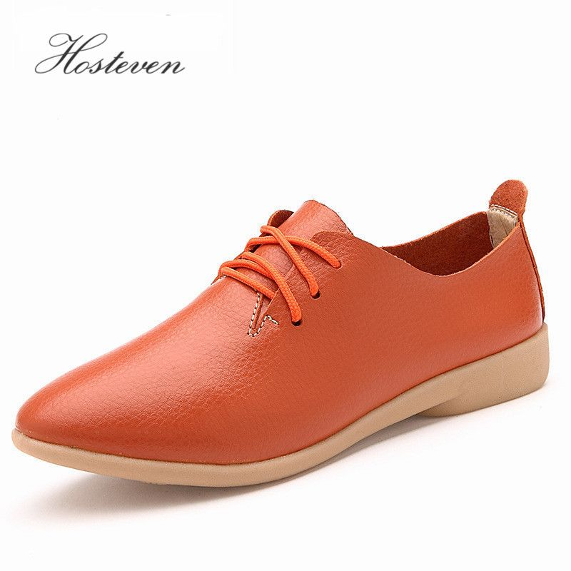 Women's Shoes Soft Genuine Leather Flats Fashion Casual Woman <font><b>Driving</b></font> Loafers Moccasins Shoes Large Size 35-44