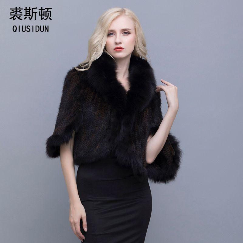 QIUSIDUN Real Fur Poncho Knitted Mink Jackets Mink Fur Coat China Natural Fox Fur Collar Coat Fur Coat Winter Gift For A Woman