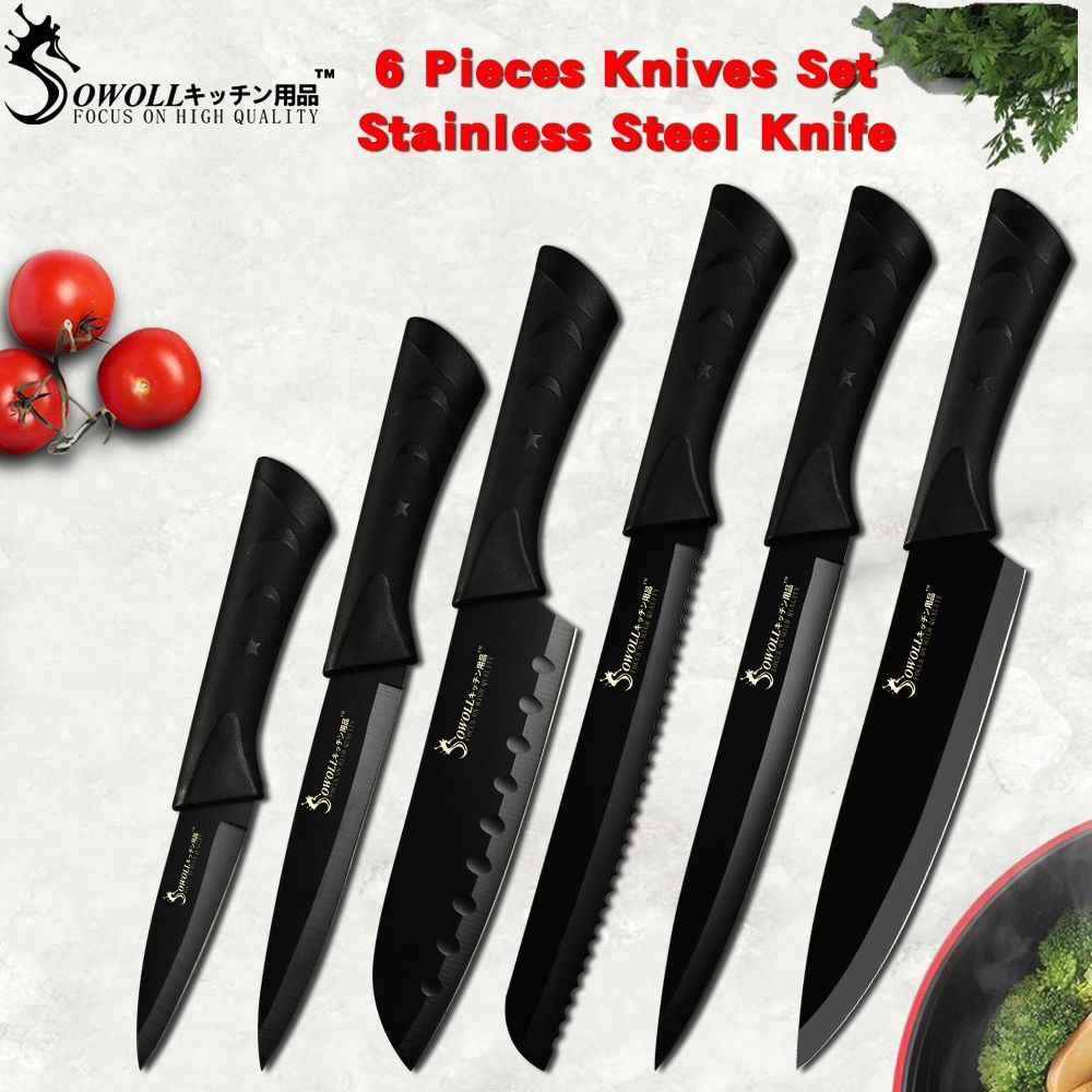 Sowoll mode couteau de cuisine en acier inoxydable noir Set allemagne acier lame Ultra tranchante couteau de cuisine 7Cr17 outils de cuisine 6 pièces