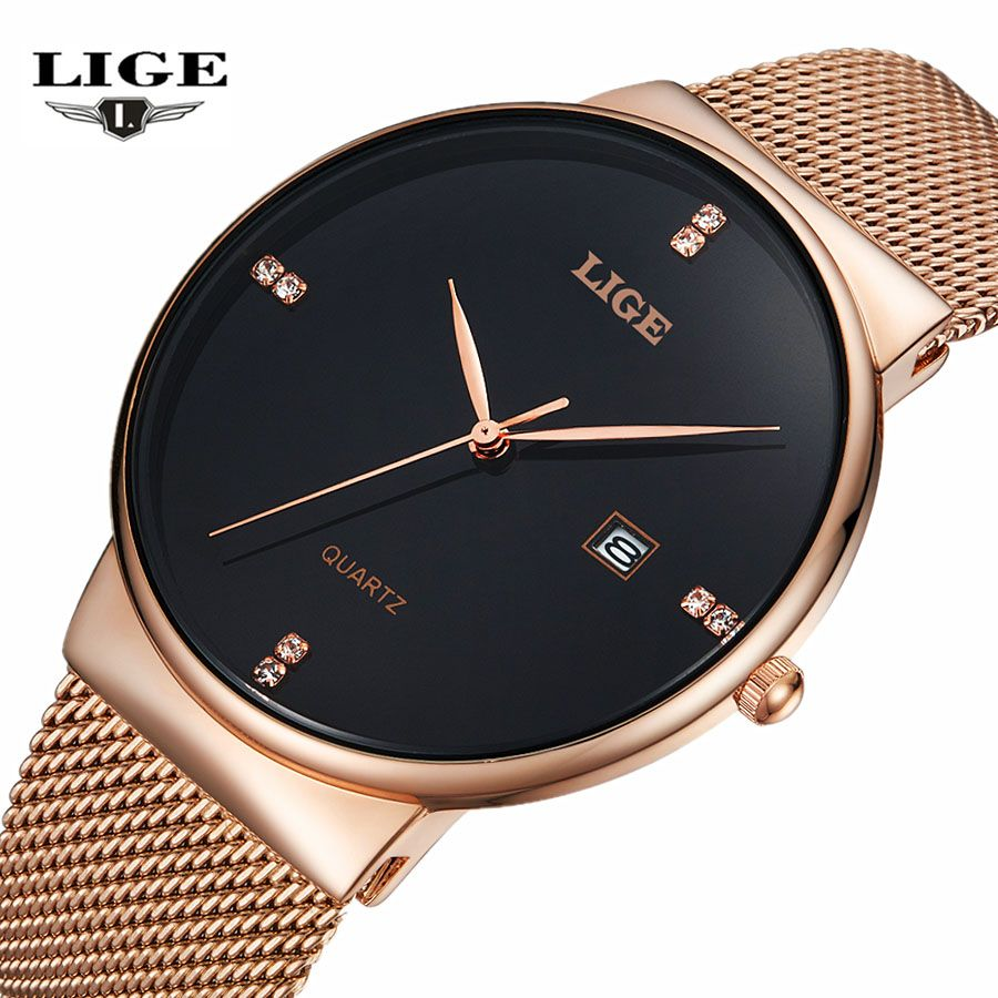 LIGE Men's Watches New luxury brand watch men Fashion sports quartz-watch stainless steel mesh strap <font><b>ultra</b></font> thin dial date clock