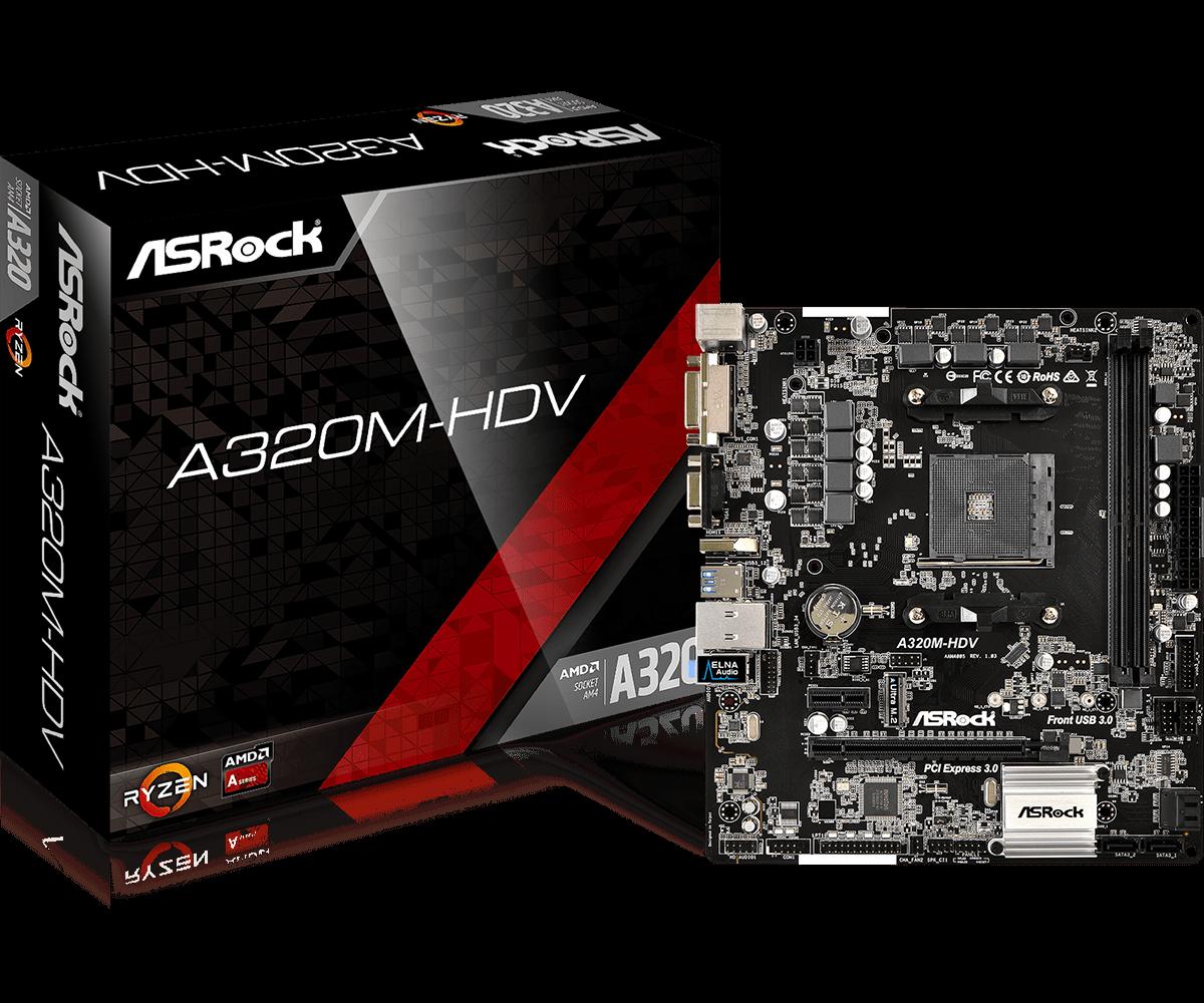 Voll neue ASROCK AMD A320 Chipset AM4 Interface A320M-HDV Desktop PC Motherboard Micro-ATX