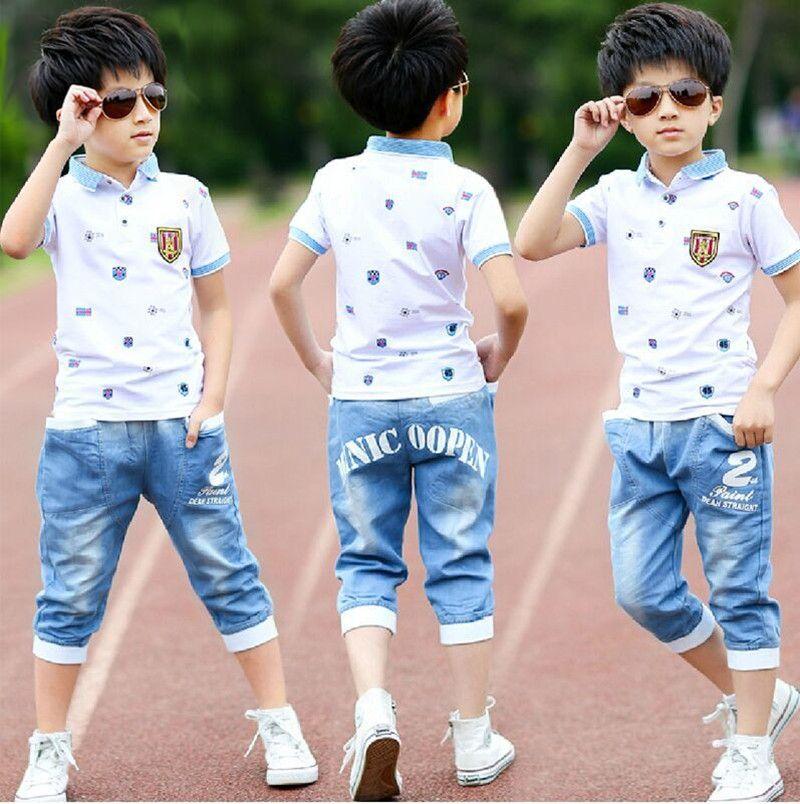 2018 été garçons vêtements sport costume ensemble décontracté manches courtes o-cou enfants vêtements ensemble 2 pièces T-Shirt + jeans