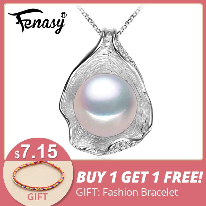 FENASY charme Shell conception Perle Bijoux, Perle Collier Pendentif, 925 bijoux en argent sterling, colliers de mode pour femmes 2018 nouveau