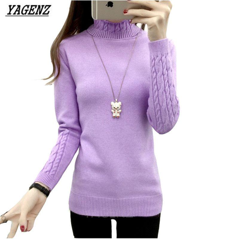 YAGENZ Autumn Winter Women Turtleneck Sweater Knitwear Slim Solid Pullover Warm Casual Long-sleeved Shirt Sweater Women Clothing